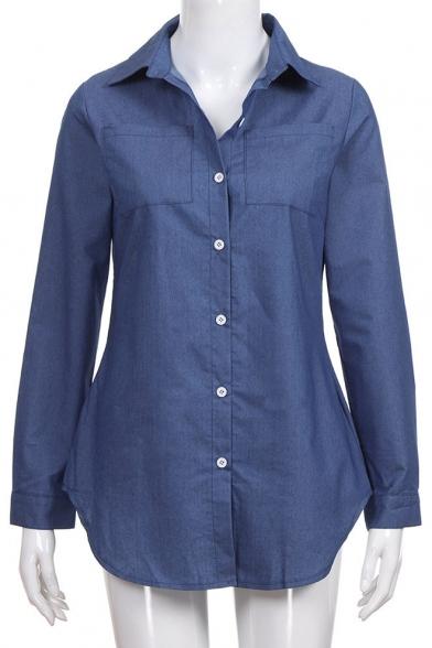 Womens Fashion Classic Plain Blue Long Sleeve Button Down Casual Chambray Shirt
