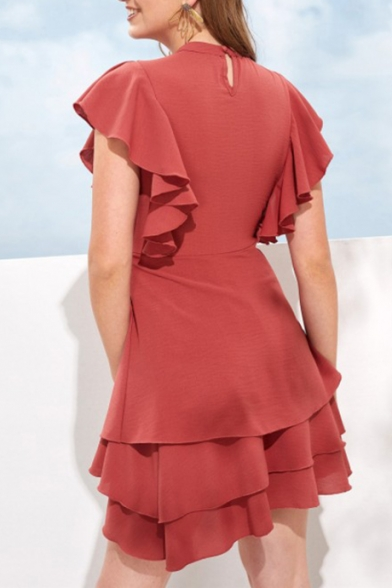 Womens Fashion Red Mock Neck Ruffled Hem Plain Mini A-Line Dress