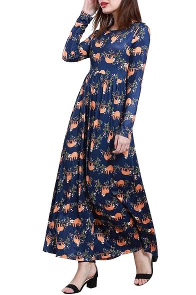 Womens Hot Fashion Long Sleeves Sloth Print High Waist Flared Maxi Dress