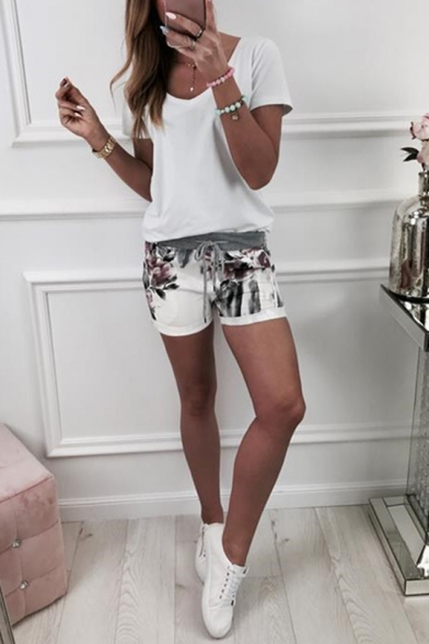 Womens Hot Popular Summer Chic Floral Printed Drawstring Waist White Shorts