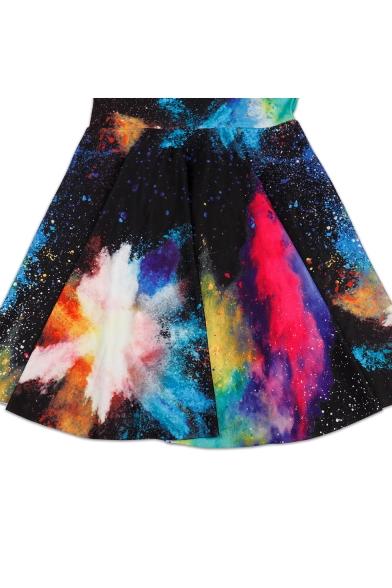 Womens Hot Sexy Fashion Galaxy Print Sleeveless High Waist Tank Skater Dress