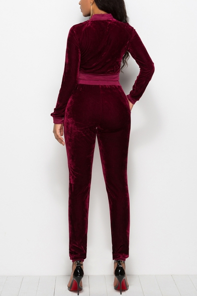 Womens Hot Stylish Plain Long Sleeve Zip-Back Fitted Sport Velvet Jumpsuits