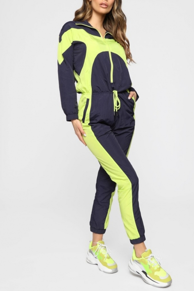 Womens New Arrival Long Sleeve Drawstring Waist Stand Collar Zip-Front Colorblock Playsuit Jumpsuits