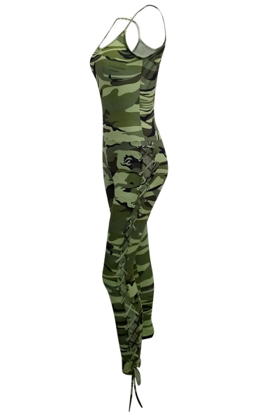 Womens New Trendy Green Strap Sleeveless Lace Up Side Camo Jumpsuits