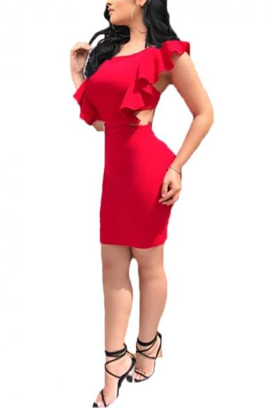Womens Sexy Open Back Ruffled Hem Simple Plain Mini Short Bodycon Dress