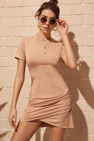 Womens Summer New Trendy Simple Plain Round Neck Short Sleeve Ruched Detail Khaki Mini Bodycon Asymmetrical T-Shirt Dress