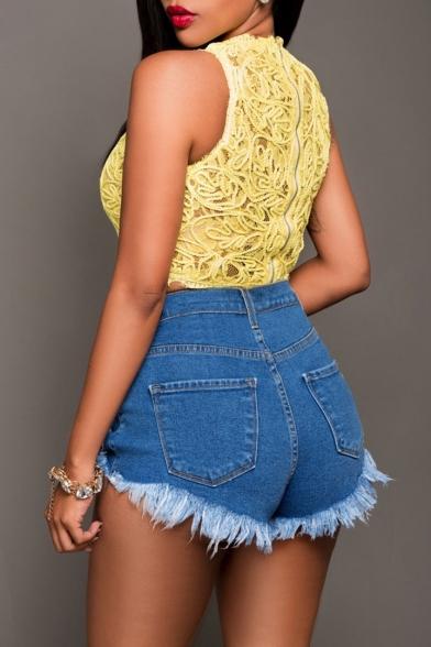 Womens Summer Trendy Distressed Ripped Frayed Hem Blue Denim Shorts