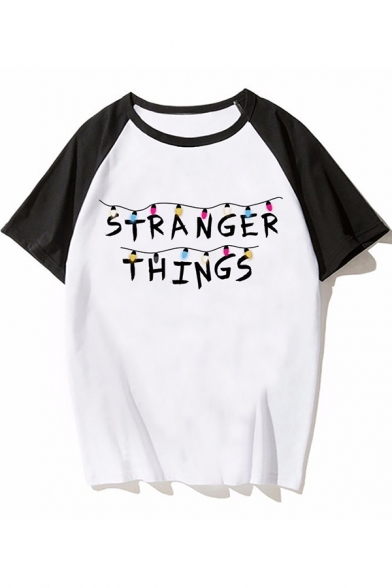 Cool Simple Letter STRANGER THINGS Print Raglan Short Sleeve Casual Tee, Color 1;color 2;color 3;color 4;color 5;color 6;color 7;color 8;color 9;color 10;color 11;color 12;color 13;color 14;color 15;color 16;color 17;color 18;color 19;color 20;color 21;co