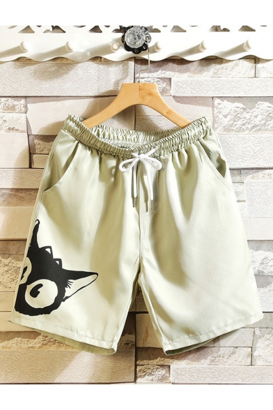Cute Cartoon Cat Printed Drawstring Waist Casual Cotton Relaxed Sweat Shorts