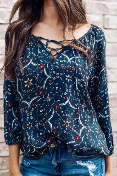 Fancy Floral Pattern Lace-Up V-Neck Long Sleeve Loose Fit Blouse Top for Women
