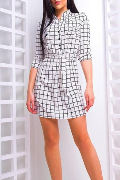 Fashion Black and White Check Printed Stand Collar Three-Quarter Sleeve Mini Sheath Shirt Dress