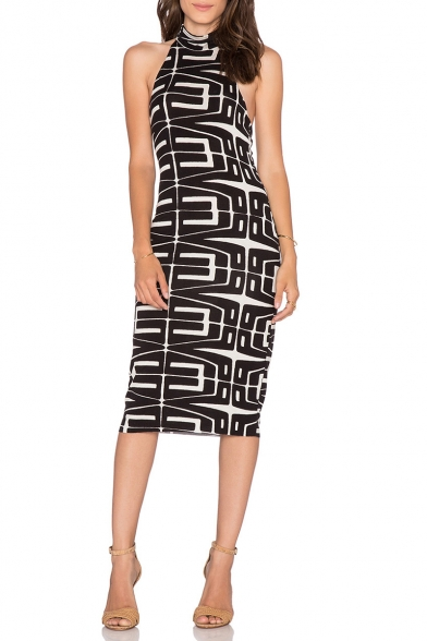 Fashion Black Geometric Pattern High Neck Sleeveless Sexy Open Back Midi Pencil Dress
