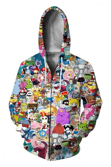 Fashion Cartoon Comic Character Printed Long Sleeve Zip Up Casual Hoodie