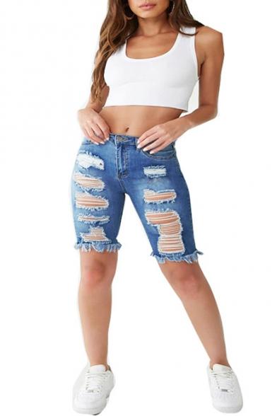 Baycheer / Fashion Dark Blue Destroyed Ripped Raw Hem Womens Stretch Fit Skinny Half Denim Shorts