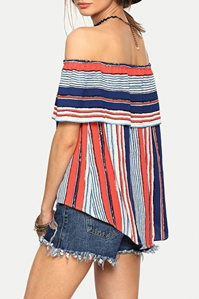 Fashion Off the Shoulder Ruffled Hem Vertical Striped Blouse Top