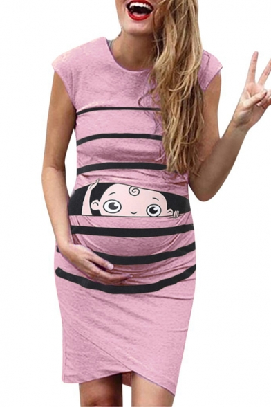 Fashion Pregnant Women Cartoon Print Round Neck Ruched Asymmetrical Dress