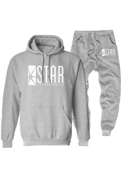 Fashion Star Pattern Loose Fit Drawstring Hoodie with Casual Sweatpants Two-Piece Set