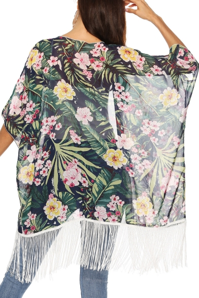 Fashion Womens Green Floral Print Short Sleeve Tassel Hem Patch Sunscreen Cardigan Shirt