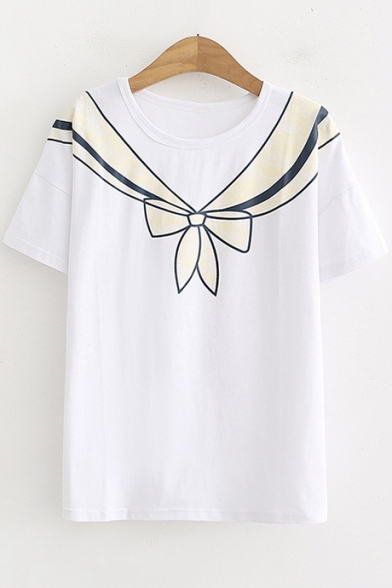 Funny Cute Bow-Tied Painting Round Neck Short Sleeve Casual Tee
