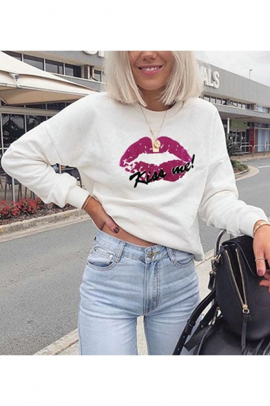 Funny Red Lip Letter KISS ME Printed Crewneck Long Sleeve Casual Sweatshirt