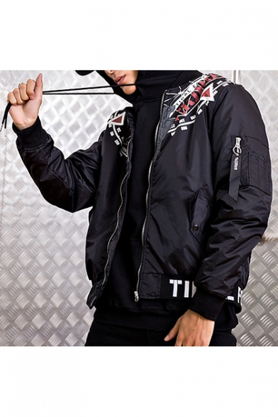 Guys Trendy Cool Black Printed Long Sleeve Stand Collar Zip Up Bomber Jacket