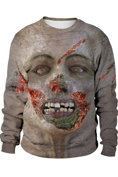 Hot Popular Halloween 3D Figure Face Print Round Neck Long Sleeve Sweatshirt