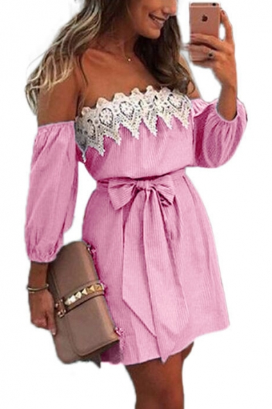 Hot Popular Sexy Off the Shoulder Lace-Panel Striped Print Tied Waist Mini A-Line Dress