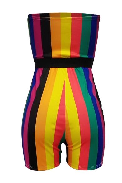 Hot Sexy Stylish Rainbow Striped Sleeveless Elastic Waist Skinny Fit Bandeau Rompers