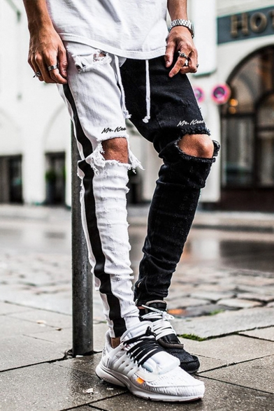 Men's Cool Fashion Colorblock Letter Printed Tape Side Knee Cut Trendy Distressed Ripped Jeans