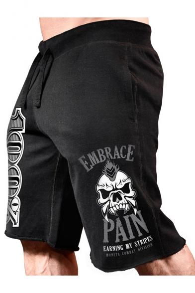 Men's Hot Fashion Letter 100% EMBRACE PAIN Skull Printed Drawstring Waist Cutoff Style Casual Sports Sweat Shorts