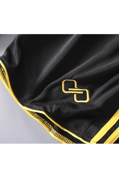Men's New Stylish Colorblocked Stripe Side Logo Embroidery Elastic Waist Casual Sports Shorts