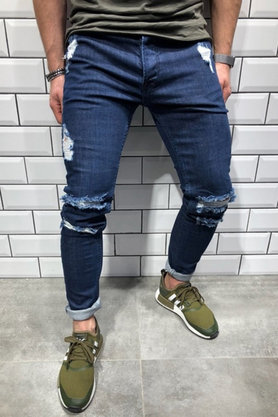 Men's Popular Fashion Knee Cut Dark Blue Casual Ripped Skinny Jeans