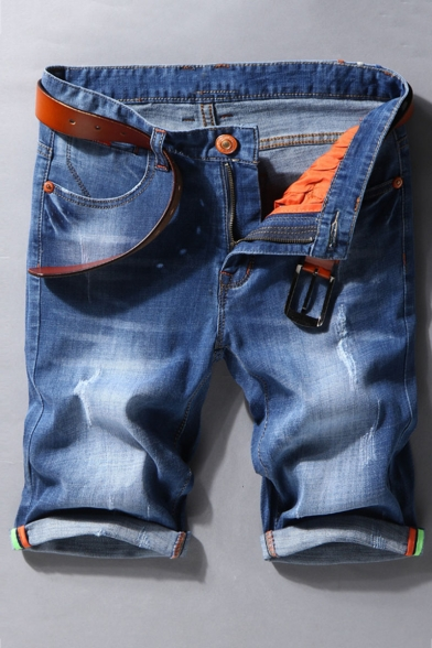 Men's Summer Fashion Classic Washed Rolled Cuffs Blue Zip-fly Ripped Denim Shorts