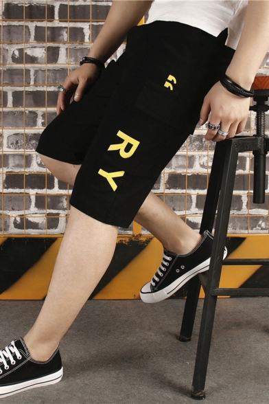 Men's Summer Fashion Letter RY Printed Flap Pocket Side Casual Cotton Cargo Shorts