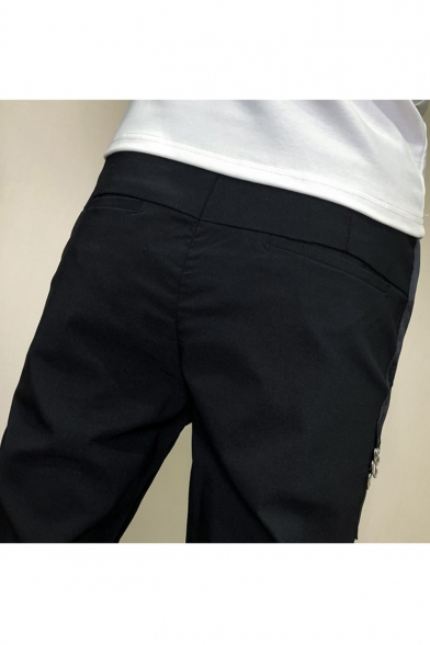 Men's Trendy Letter G5 Printed Metal Ring Embellished Black Drawstring Waist Casual Slim Pencil Pants