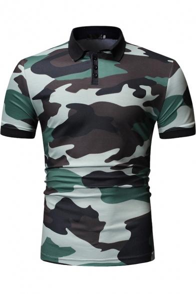 Mens New Fashion Camouflage Printed Short Sleeve Slim Polo Shirt