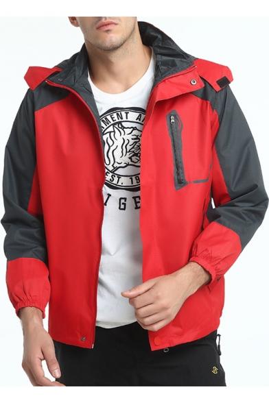 Mens New Fashion Color Block Long Sleeve Zip Up Hooded Warm Windbreaker Jacket Mountain Jacket