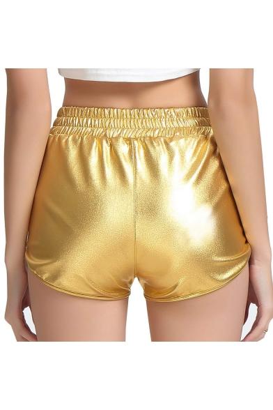 New Stylish Cool Metallic Color Elastic Waist Hot Pants Club Shorts