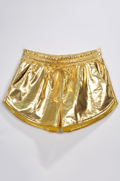 New Trendy Cool Drawstring Elastic Waist Laser Patent Leather Hot Pants Dolphin Shorts