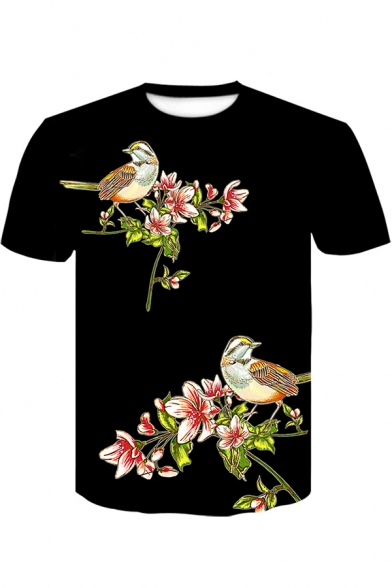 Summer Fancy Floral Bird Printed Round Neck Short Sleeve Black Tee