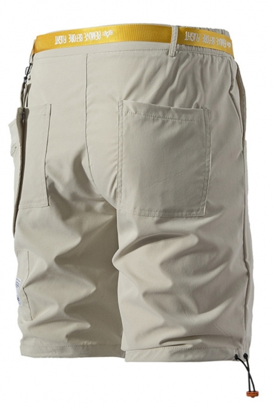 Summer Fashion Letter Printed Unique Zip Pocket Side Button-fly Casual Cargo Shorts
