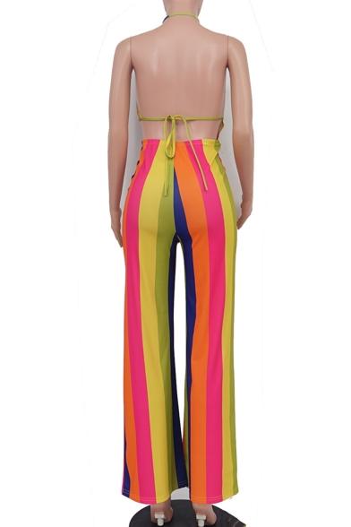 Summer Hot Sexy Striped Print Sleeveless Halter V Neck Cutout Tie Back Nightclub Jumpsuits