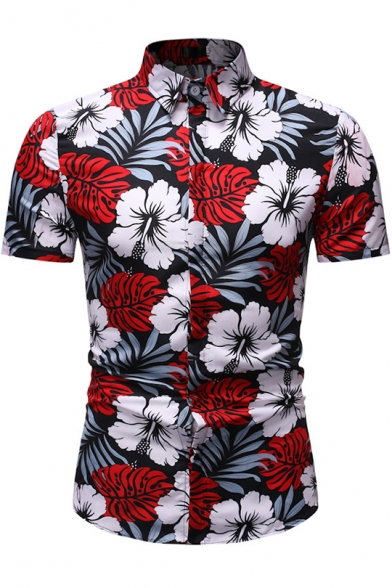 Mens Tops Rose Print Short Sleeve Blouses Summer Button Down Shirt