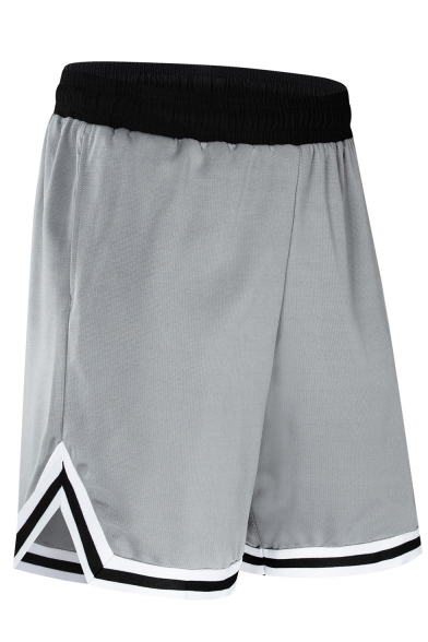 Summer New Fashion Contrast Stripe Trim Elastic Waist Basketball Shorts Casual Sport Shorts