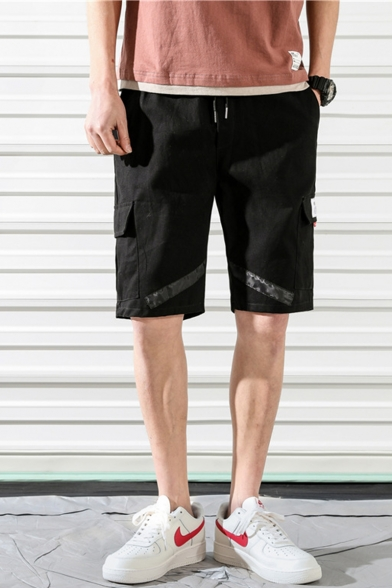 Summer New Fashion Plain Flap Pocket Tape Patched Drawstring Waist Men's Casual Cargo Shorts