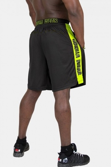 Summer Popular Fashion Letter Printed Contrast Tape Patched Elastic Waist Zipped Pocket Men's Outdoor Sports Shorts