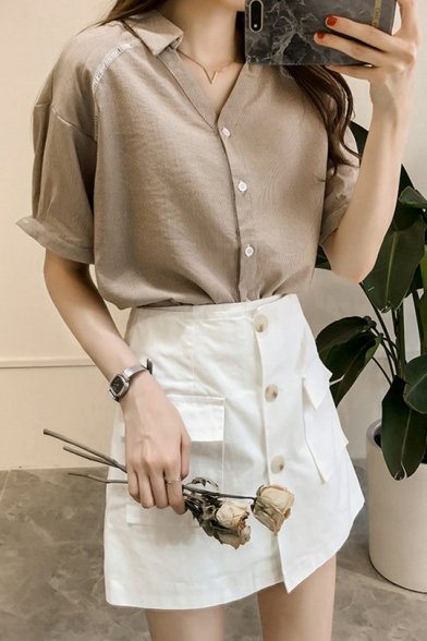 Summer Simple Casual Short Sleeve Button Down Striped Shirt