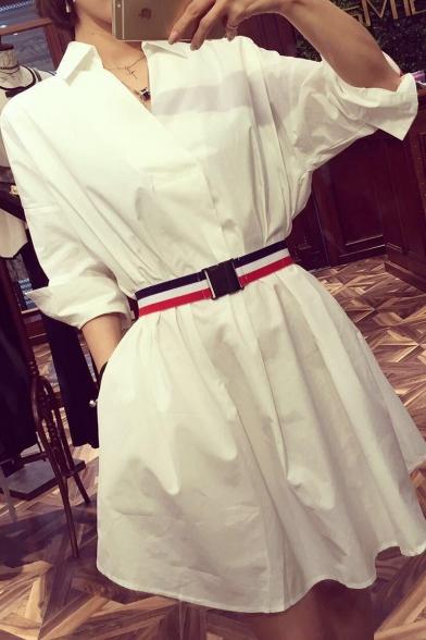 Summer Stylish White V Neck 3/4 Length Sleeve Belt-Waist Mini A-Line Shirt Dress