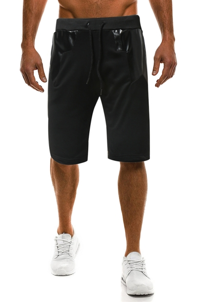 Summer Trendy Colorblock Leather Patched Drawstring Waist Cotton Casual Sweat Shorts for Men