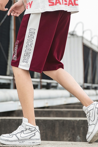 Summer Trendy Contrast Side Letter Printed Drawstring Waist Loose Fit Casual Athletic Shorts